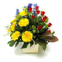 Hatay online çiçekçi , çiçek siparişi  9 adet gül ve kir çiçekleri cam yada mika vazoda