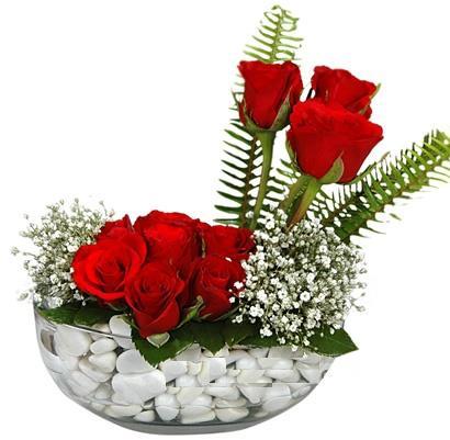 cam içerisinde 9 adet kirmizi gül  Hatay yurtiçi ve yurtdışı çiçek siparişi