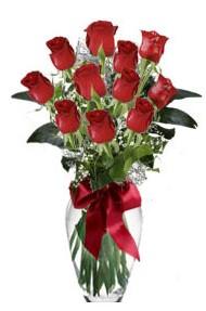11 adet kirmizi gül vazo mika vazo içinde  Hatay çiçek yolla
