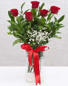 cam vazo içerisinde 5 adet kırmızı gül  Hatay İnternetten çiçek siparişi