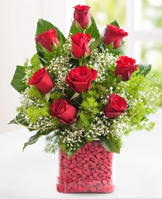 Cam içerisinde 9 adet kırmızı gül  Hatay çiçek mağazası , çiçekçi adresleri