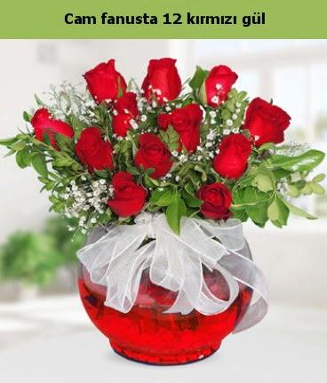 Cam içerisinde 12 adet kırmızı gül  Hatay çiçek mağazası , çiçekçi adresleri