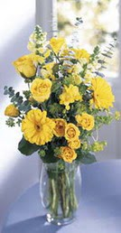 Hatay online çiçekçi , çiçek siparişi  sari güller ve gerbera cam yada mika vazo