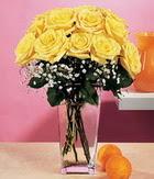 Hatay çiçek mağazası , çiçekçi adresleri  9 adet sari güllerden cam yada mika vazo