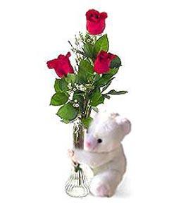 oyuncak ve 3 adet gül  Hatay çiçek servisi , çiçekçi adresleri