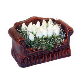 seramik içerisinde 11 gül  Hatay hediye sevgilime hediye çiçek