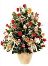 91 adet renkli gül aranjman   Hatay çiçek siparişi vermek