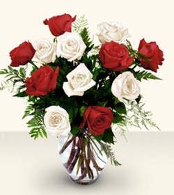 Hatay çiçek gönderme sitemiz güvenlidir  6 adet kirmizi 6 adet beyaz gül cam içerisinde
