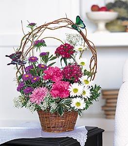 Hatay İnternetten çiçek siparişi  sepet içerisinde karanfil gerbera ve kir çiçekleri