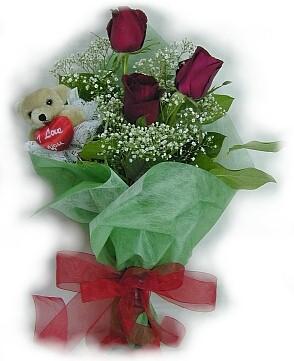 3 adet gül ve küçük ayicik buketi  Hatay çiçek yolla , çiçek gönder , çiçekçi