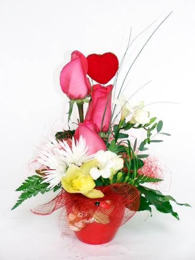 Hatay anneler günü çiçek yolla  cam içerisinde 3 adet gül ve kir çiçekleri