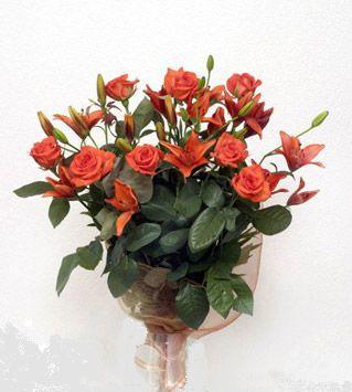 9 adet gül ve 3 adet lilyum çiçegi buketi   Hatay çiçek yolla , çiçek gönder , çiçekçi