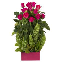 12 adet kirmizi gül aranjmani  Hatay ucuz çiçek gönder