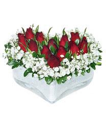 Hatay güvenli kaliteli hızlı çiçek  mika kalp içerisinde 9 adet kirmizi gül