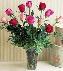 Hatay ucuz çiçek gönder  12 adet karisik renkte gül cam yada mika vazoda