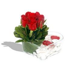 Mika kalp içerisinde 9 adet kirmizi gül  Hatay çiçek , çiçekçi , çiçekçilik