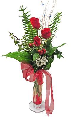 Çiçek gönderin cam vazoda 3 gül çiçekleri  Hatay çiçek servisi , çiçekçi adresleri