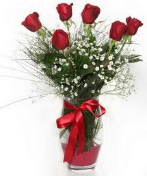 7 adet gülden cam içerisinde güller  Hatay çiçek yolla