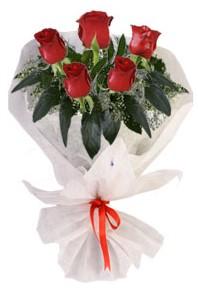 5 adet kirmizi gül buketi  Hatay kaliteli taze ve ucuz çiçekler