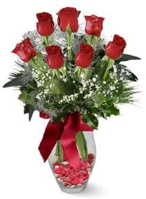 7 adet vazoda gül  Hatay çiçek mağazası , çiçekçi adresleri  kirmizi gül