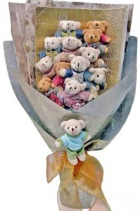 12 adet ayiciktan buket tanzimi  Hatay çiçek yolla , çiçek gönder , çiçekçi