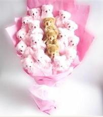 17 adet pelus ayicik buketi  Hatay internetten çiçek siparişi