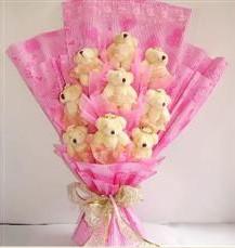 9 adet pelus ayicik buketi  Hatay çiçek gönderme