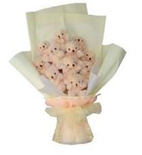 11 adet pelus ayicik buketi  Hatay anneler günü çiçek yolla