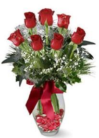 Hatay güvenli kaliteli hızlı çiçek  7 adet kirmizi gül cam vazo yada mika vazoda