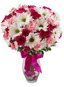 Hatay çiçek servisi , çiçekçi adresleri  Karisik mevsim kir çiçegi vazosu