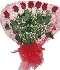 7 adet kipkirmizi gülden görsel buket  Hatay ucuz çiçek gönder