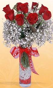 9 adet kirmizi gül cam yada mika vazoda  Hatay ucuz çiçek gönder