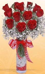 10 adet kirmizi gülden vazo tanzimi  Hatay çiçek servisi , çiçekçi adresleri