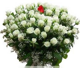 Hatay çiçek mağazası , çiçekçi adresleri  100 adet beyaz 1 adet kirmizi gül buketi