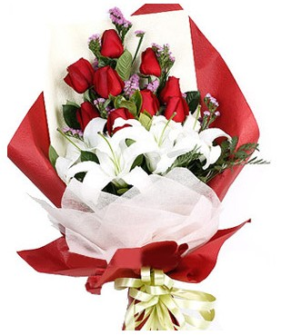 Hatay kaliteli taze ve ucuz çiçekler  1 dal kazablankaa 9 adet kırmızı gül buketi
