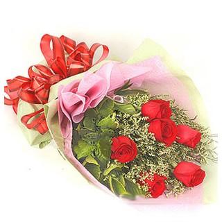 Hatay 14 şubat sevgililer günü çiçek  6 adet kırmızı gülden buket