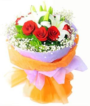 Hatay çiçek siparişi vermek  1 dal kazablanka 7 adet kırmızı gül buketi