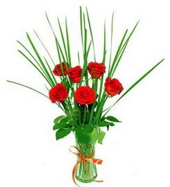 Hatay 14 şubat sevgililer günü çiçek  6 adet kırmızı güllerden vazo çiçeği