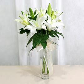 Hatay çiçek gönderme  2 dal kazablanka ile yapılmış vazo çiçeği