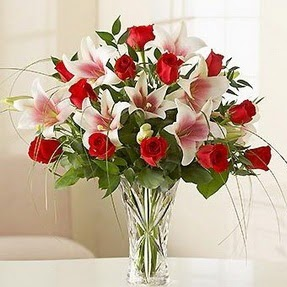 Hatay ucuz çiçek gönder  12 adet kırmızı gül 1 dal kazablanka çiçeği