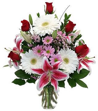 Hatay ucuz çiçek gönder  1 dal kazablanka 5 gül ve kırçiçeği vazosu
