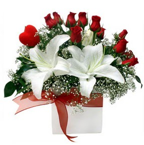 Hatay çiçek online çiçek siparişi  1 dal kazablanka 11 adet kırmızı gül vazosu