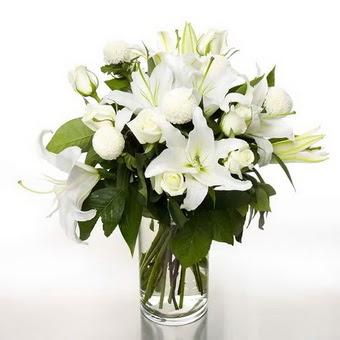 Hatay çiçek siparişi vermek  1 dal cazablanca 7 adet beyaz gül vazosu