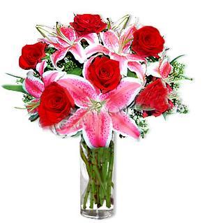 Hatay online çiçek gönderme sipariş  1 dal cazablanca ve 6 kırmızı gül çiçeği