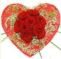 Mika kalp içerisinde 7 adet kırmızı gül  Hatay çiçek online çiçek siparişi