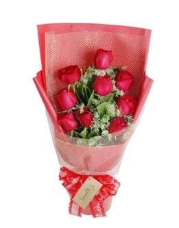 9 adet kırmızı gülden görsel buket  Hatay anneler günü çiçek yolla