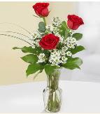 Vazo içerisinde 3 adet kırmızı gül  Hatay uluslararası çiçek gönderme