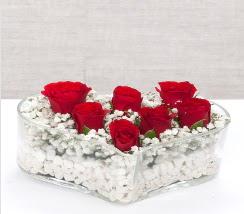 kalp içerisinde 7 adet kırmızı gül  Hatay yurtiçi ve yurtdışı çiçek siparişi