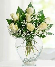 Cam içerisinde 7 adet beyaz gül  Hatay İnternetten çiçek siparişi