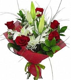 1 dal kazablanka 5 kırmızı gül buketi  Hatay hediye çiçek yolla